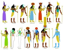 A Set Of Ancient Egyptian Gods And Goddesses