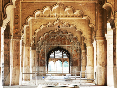Fortification Architectural of Lal Qila - Red Fort in Delhi, India, Asia