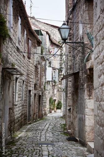 Old Stone Narrow Streets of Trogir, Croatia