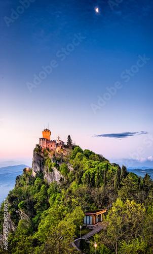 San Marino Castle on a Hill at Sunrise