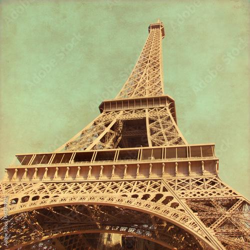 Grunge image  of  Eiffel Tower.