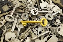 Gold Skeleton Key And Old Metal Keys