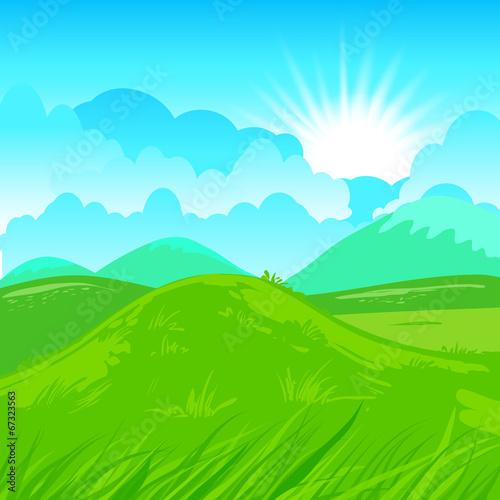 Spoed Foto op Canvas Turkoois Rural scene illustration