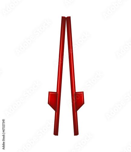 Tablou Canvas Wooden stilts in red design