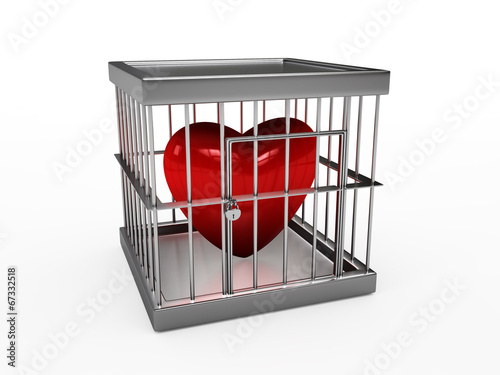 Photo  heart  in jail, isolated on white