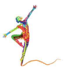 Obraz na Szklesilhouette di ballerina composta da colori
