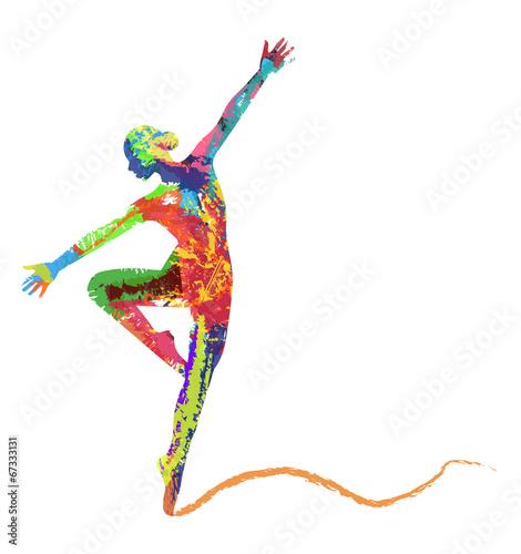 silhouette di ballerina composta da colori - 67333131