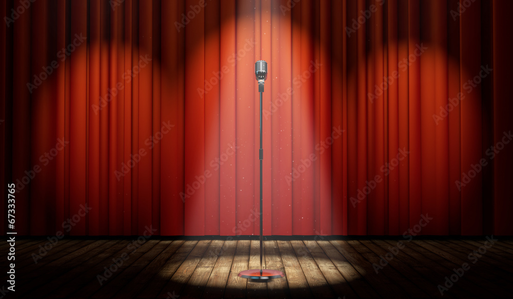 Fototapeta 3d stage with red curtain and vintage microphone in spot light