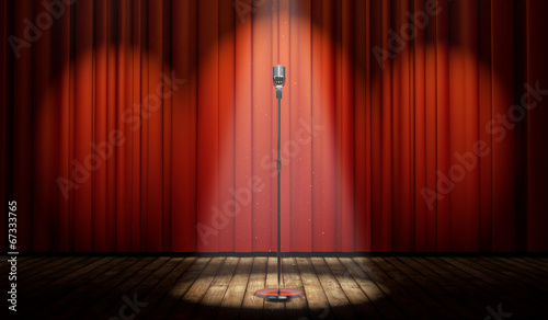Obraz 3d stage with red curtain and vintage microphone in spot light - fototapety do salonu
