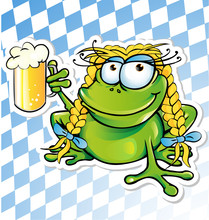 Funny Frog Cartoon  With Beer ...