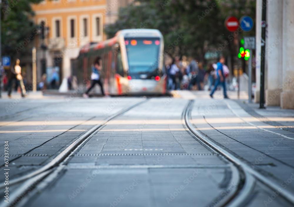 Fototapety, obrazy: tram and rails