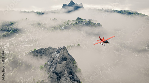 Red airplane flying over snow mountains with pine trees in the c