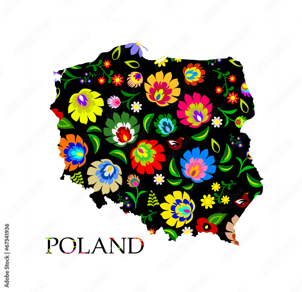 Poland shape filled with traditional Polish folk pattern vector