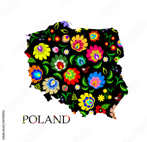 Obraz Poland shape filled with traditional Polish folk pattern vector - fototapety do salonu