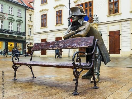 Photo  bronze sculpture of Napoleon, Bratislava, Slovakia