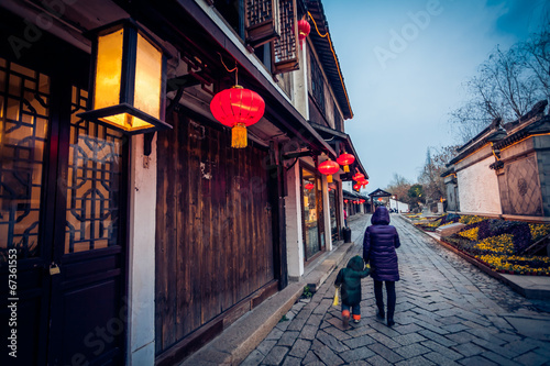 Foto op Canvas China Flagstone alley in Zhouzhuang, China