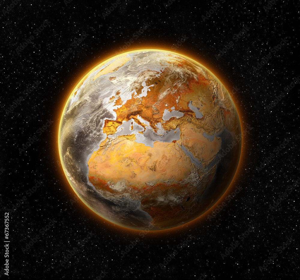 Fototapeta dead and barren world,  concept of global warming,