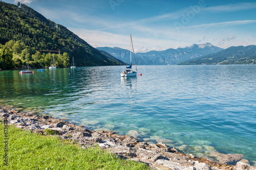 Poster Turquoise Attersee lake in Austria
