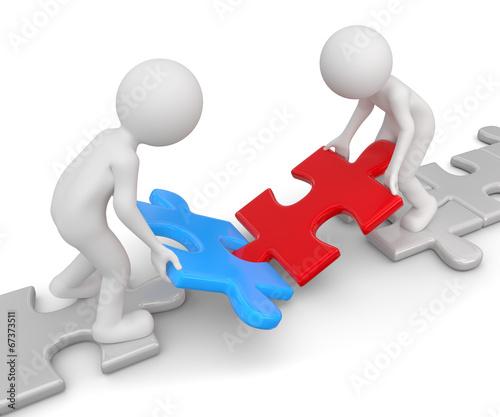 zwei Männchen zusammenarbeit puzzle – kaufen Sie diese ...