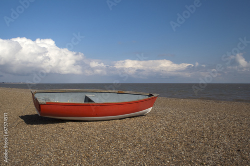 Red Boat on Dunwich Beach, Suffolk, England Canvas Print