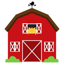 Cute Red Vector Barn With Hay,...