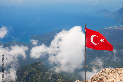 Papiers peints Turquie Aerial view of Olympos and mountain from top of Tahtali