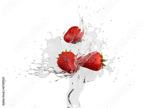 Poster Eclaboussures d eau Water strawberry
