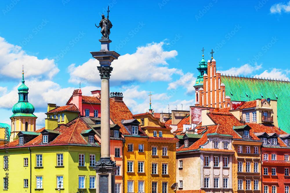 Fototapety, obrazy: Stare Miasto w Warszawie, kolorowe kamiennice