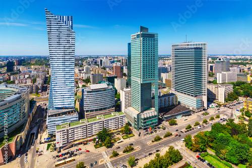 Obraz Dzielnica biznesowa w Warszawie - fototapety do salonu