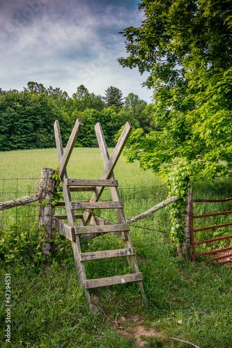 Fotografie, Obraz  Stile over a fence along the Appalachian Trail