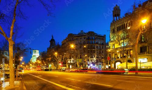 Papiers peints Con. ancienne Night view of Passeig de Gracia in Barcelona, Catalonia