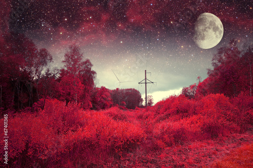 Foto op Canvas Bordeaux red night. Elements of this image furnished by NASA