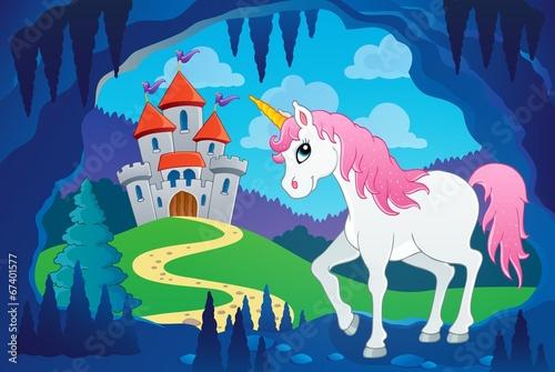 Garden Poster Pony Cute unicorn in fairy tale cave