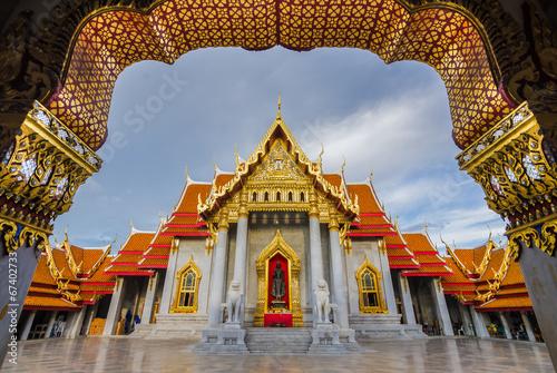 Poster Lieu connus d Asie Thai Temple Wat Benchamabophit in Bangkok, Thailand