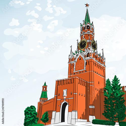 In de dag Aziatische Plekken Vector sketch of the Moscow Kremlin, Russia