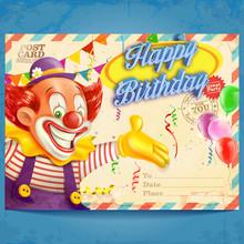 Card Birthday Clown