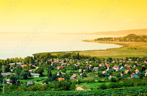 Tuinposter Zwavel geel Sunset at Lake Balaton, Hungary