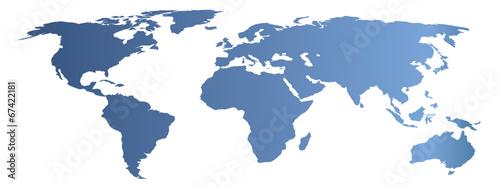 In de dag Wereldkaart blue world