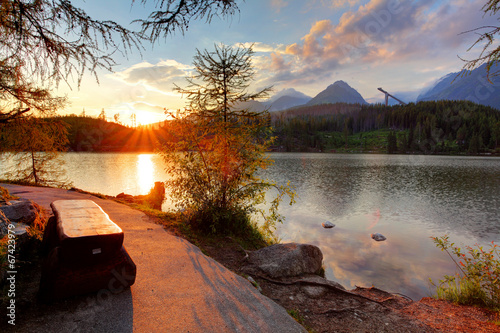 Photo Stands Lake Mountain lake in Slovakia at sunset - Strbske pleso