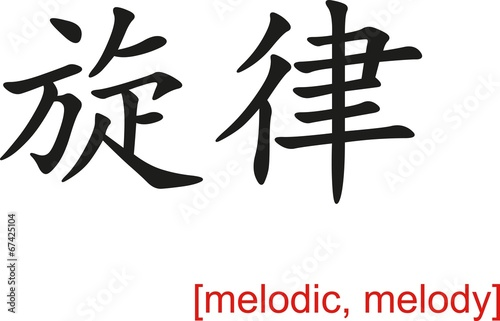 Fotografie, Obraz  Chinese Sign for melodic, melody