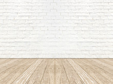 Empty Brick Room Wall And Wood Plank Floor