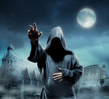 Medieval Monk At Night