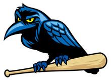 Raven Mascot And The Baseball Bat