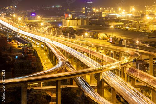 Fotobehang Nacht snelweg Yantian port overpass