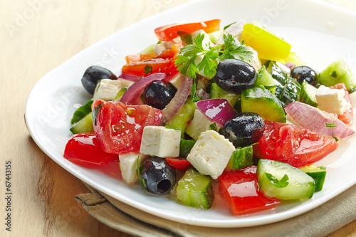 Fotografie, Obraz  fresh vegetable salad with cheese and olives