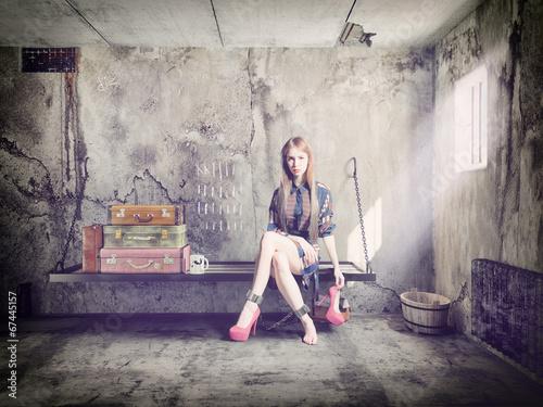 Fotografia, Obraz  woman in jail