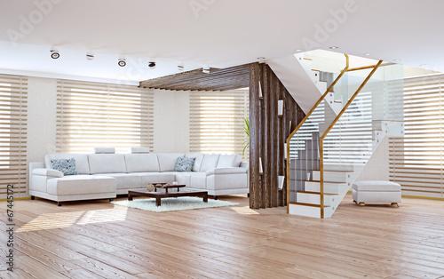Fotografija  living room interior. 3d concept