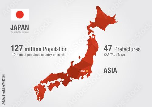 Japan world map with a pixel diamond texture. – kaufen Sie ...