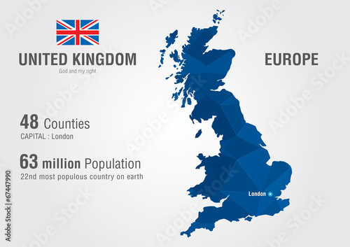 Fotografía United Kingdom world map. England map with pixel diamond texture