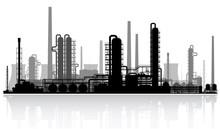 Oil Refinery Silhouette. Vecto...